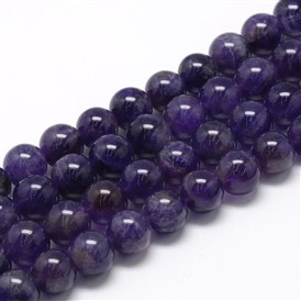 Natural Amethyst Beads Strands, Grade A, Round