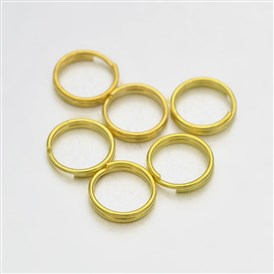 Brass Split Rings, 7x0.6mm; about 6.4mm inner diameter; about 4760pcs/500g
