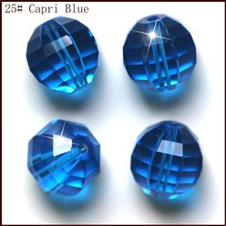 DodgerBlue Imitation Austrian Crystal Beads, Grade AAA, Faceted, Round, DodgerBlue, 10mm, Hole: 0.9~1mm