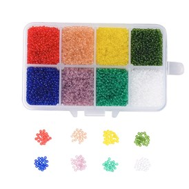 Rainbow Theme 12/0 FGB&reg Transparent Glass Seed Beads, Grade A, Round