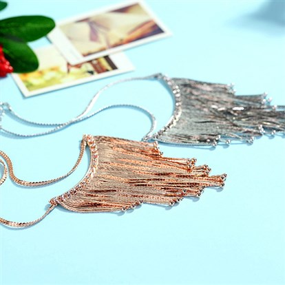 "Perfect Design Brass Tassel Bib Necklaces, Fringe Chain Necklaces, 16""-1"