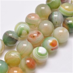 "Colorful Natural Striped Agate/Banded Agate Bead Strands, Dyed & Heated, Round, Grade A, Colorful, 14mm, Hole: 2mm; about 28pcs/strand, 14.9""(380mm)"
