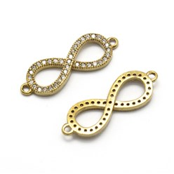Unplated Brass Links, Clear, Micro Pave Grade AAA Cubic Zirconia, Nickel Free, Infinity, Unplated, 24x8x2mm, Hole: 1mm