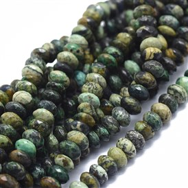 Natural Chrysocolla Beads Strands, Faceted, Rondelle