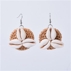 Handmade Reed Cane/Rattan Woven Dangle Earrings, with Cowrie Shell and 304 Stainless Steel Earring Hooks