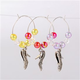Transparent Acrylic Beads Wine Glass Charms, with Tibetan Style High-Heeled Pendant and Brass Hoop Earrings, Antique Silver, 49mm; Pin: 0.7mm
