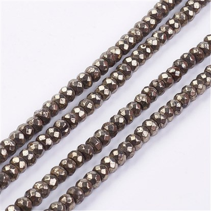 Natural Pyrite Bead Strands, Faceted, Rondelle