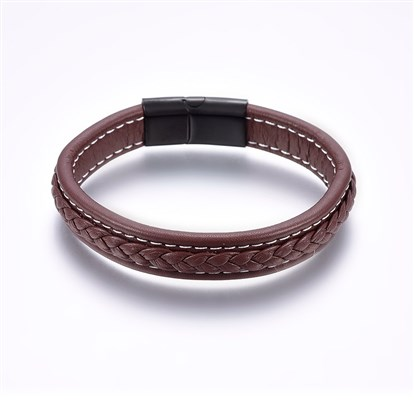 Leather Cord Bracelets, with 304 Stainless Steel Magnetic Clasp, Rectangle, SaddleBrown-1