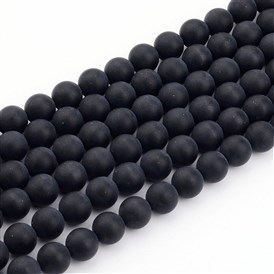 Natural Black Agate Bead Strands, Frosted, Round