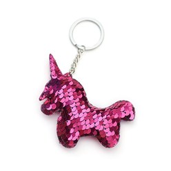 MediumVioletRed Key Chains, with Plastic Paillette Beads, Iron Key Ring and Chain, Unicorn, Platinum, MediumVioletRed, 135mm; Pendant: 95x79x11mm