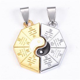 Zinc Alloy Split Pendants, with Enamel, Eight Diagrams