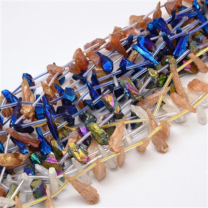 Electroplate Gemstone Natural Quartz Crystal Beads Strands, Nuggets-1