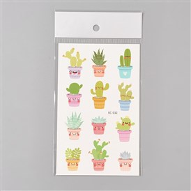 Removable Fake Temporary Water Proof Cartoon Tattoos Paper Stickers, Plant