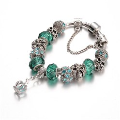 LightSeaGreen Alloy Rhinestone Bead European Bracelets, with Glass Beads and Brass Chain, LightSeaGreen, 190mm