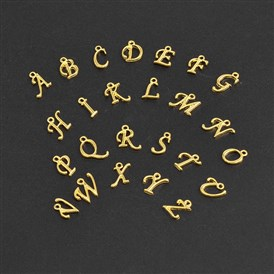 Golden Plated Alloy Letter Pendants, Rack Plating, 12~17x4~15x2mm, Hole: 1.5mm