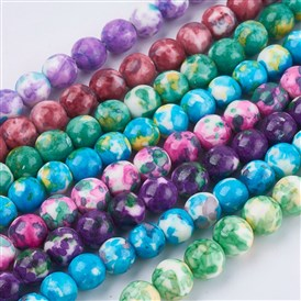 Synthetic Ocean White Jade Beads Strands, Dyed, Round