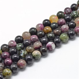 Natural Tourmaline Beads Strands, Grade A, Round