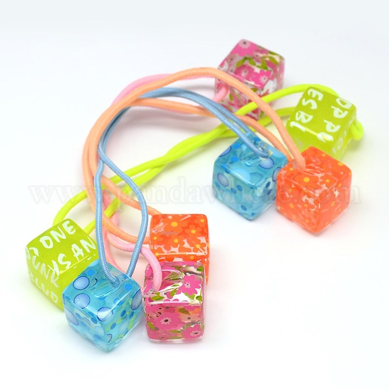 Mixed Styles Girls Hair Accessories Ponytail Holder Resin Cube Bead Elastic  Fiber Hair Ties 5968869855d