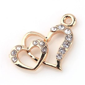 Alloy Rhinestone Pendants, Heart to Heart