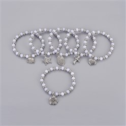 "Lavender 304 Stainless Steel Charm Bracelets, with Plastic Beads, Mixed Shaped, Lavender, 2-1/4""(5.6cm)"