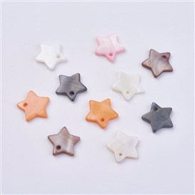 Shell Pendants, Dyed, Star Charms