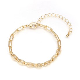 Brass Paperclip Chains Bracelets, with Clear Cubic Zirconia and Lobster Claw Clasps, Long-Lasting Plated