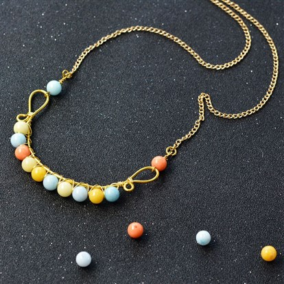 DIY Necklace Kits, Wire Wrapped Jade Beads Necklace
