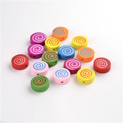 Wood Beads, Lead Free, Dyed, Flat Round With Spiral Pattern-1