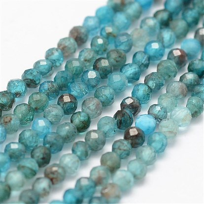 Natural Apatite Beads Strands, Faceted, Round