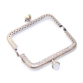 Iron Purse Frame Handle, with Half Round Resin Beads, for Bag Sewing Craft Tailor Sewer