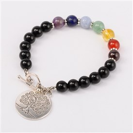 Natural Black Stone Chakra Charm Bracelets, with Tibetan Style Tree of Live Pendant, Tibetan Style Toggle Clasps, Antique Silver, 195mm