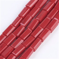 "Crimson Opaque Glass Beads Strands, Faceted, Cuboid, Crimson, 6.5~7x3~3.5x3~3.5mm, Hole: 0.5mm; about 80pcs/strand, 20.6~22""(52.5~56cm)"