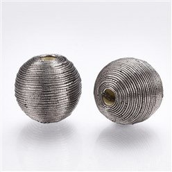 Gray Polyester Cord Fabric Beads, with Wood Inside, Round, Gray, 16~17x15.5~16mm, Hole: 3~4mm