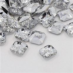 Crystal Acrylic Rhinestone Buttons, 2-Hole, Faceted, Octagon, Crystal, 11x11x4mm, Hole: 1mm