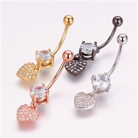 Piercing Jewelry, Brass Micro Pave Cubic Zirconia Belly Rings, with 304 Stainless Steel Pins, Heart