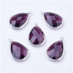 Purple Silver Tone Brass Glass Drop Pendants, Faceted, Purple, 18x10x5mm, Hole: 2mm