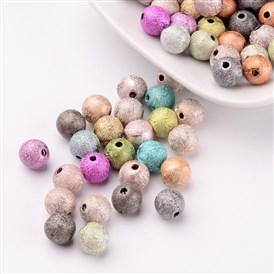 Spray Painted Acrylic Beads, Matte Style, Round