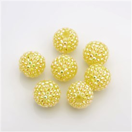Chunky Resin Rhinestone Bubblegum Ball Beads, DIY Material for Jewelry Making, Round, 20mm, Hole: 2mm