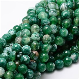 Dyed Natural Agate Faceted Round Beads Strands