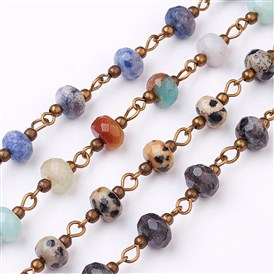 Handmade Gemstone Beaded Chains, Unwelded, for Necklaces Bracelets Making, with Brass Eye Pin, Antique Bronze