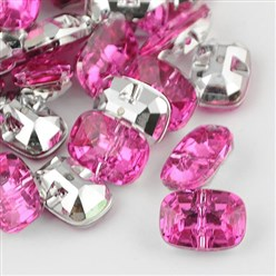 Magenta Taiwan Acrylic Rhinestone Buttons, Faceted, 1-Hole, Rectangle, Magenta, 30x21x10.5mm, Hole: 2mm