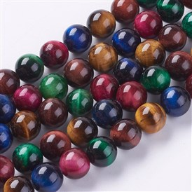 Natural Tiger Eye Beads Strands, Round, Colorful