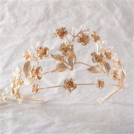 Adjustable Fashionable Wedding Crown, Environmental Alloy Hair Bands, Bridal Tiaras, with ABS Imitation Pearl, Ivory