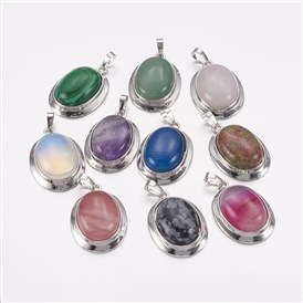 Natural & Synthetic Gemstone Pendants, with Platinum Tone Alloy Findings, Oval