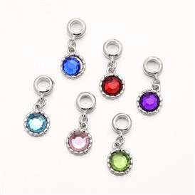 Platinum Tone Alloy Acrylic Rhinestone Large Hole European Dangle Flat Round Charms, 27mm, Hole: 5mm