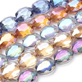 Electroplate Glass Beads Strands, Rainbow Plated, Faceted, Oval