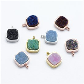 Natural Druzy Quartz Pendants, with 316 Stainless Steel Findings, Long-Lasting Plated, Square