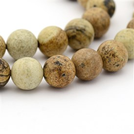 Natural Picture Jasper Round Bead Strands