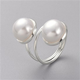 Cuff Rings, with ABS Plastic Imitation Pearl Beads, Silver Color Plated Iron Pad Ring Settings and Cardboard Box