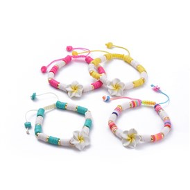 Nylon Thread Cord Braided Bead Bracelets, Handmade Polymer Clay Heishi Beads and Wood Beads, Plumeria